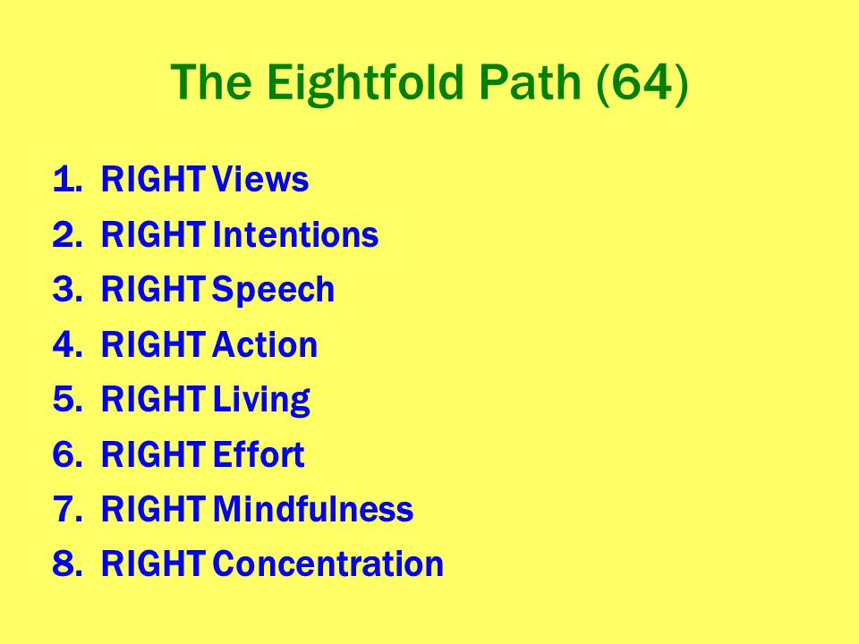 The Eightfold Path (64) RIGHT Views RIGHT Intentions RIGHT Speech