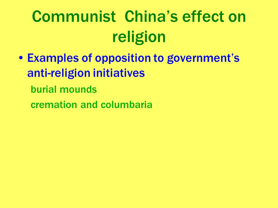 Communist China's effect on religion