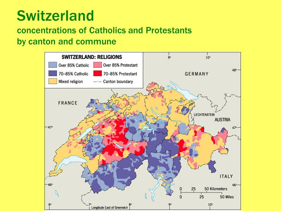 Switzerland concentrations of Catholics and Protestants by canton and commune