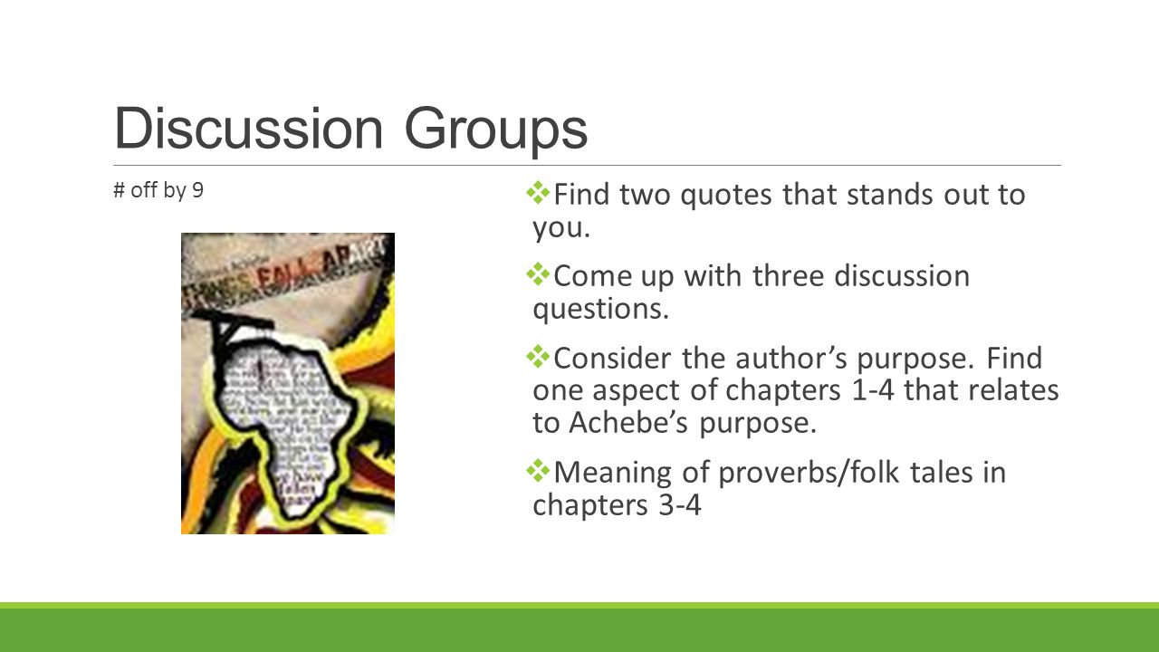 Discussion Groups Find two quotes that stands out to you.