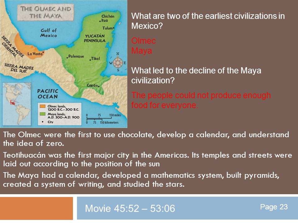 What are two of the earliest civilizations in Mexico