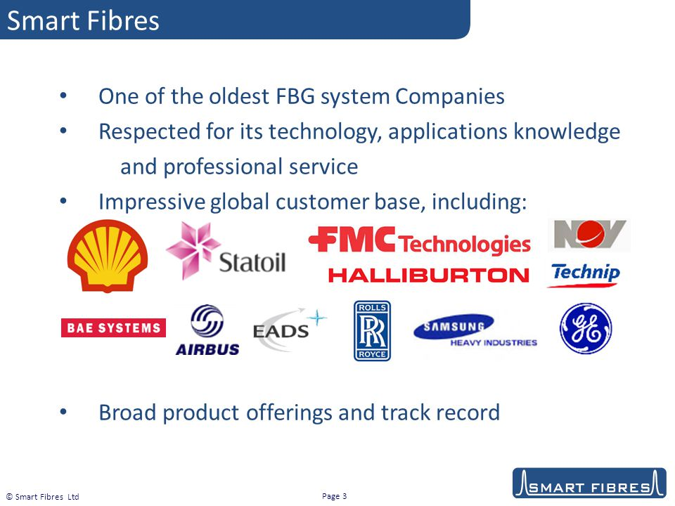 Smart Fibres One of the oldest FBG system Companies