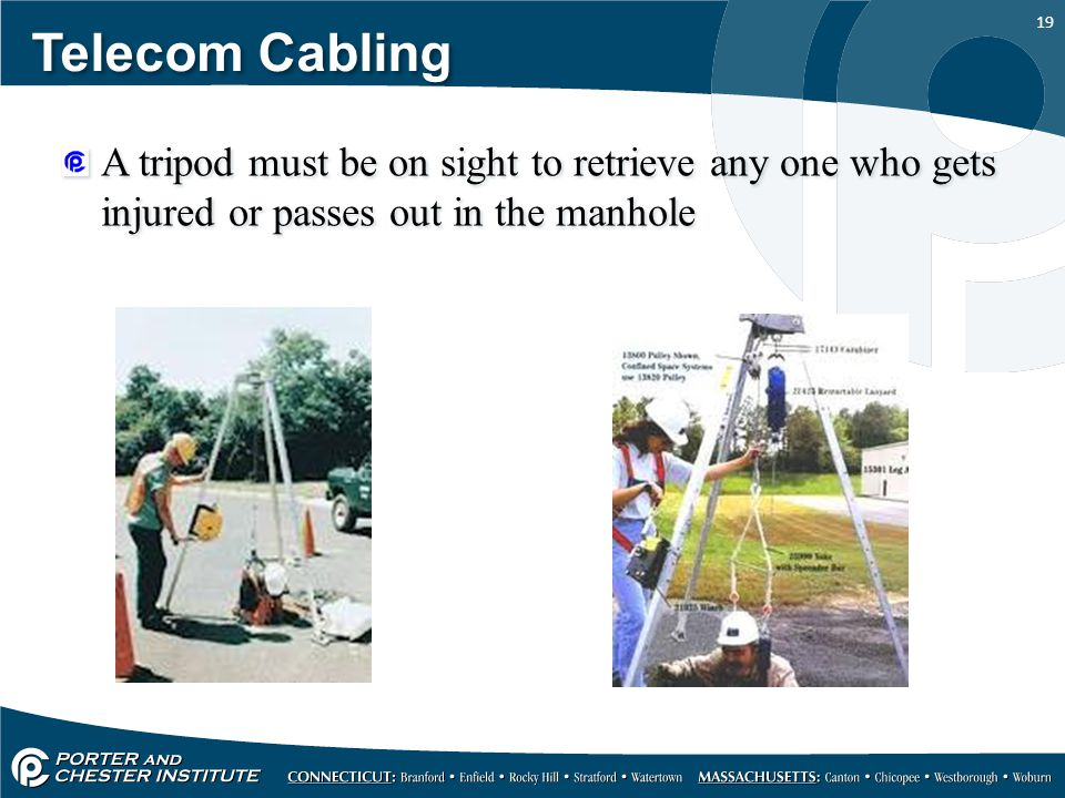 Telecom Cabling A tripod must be on sight to retrieve any one who gets injured or passes out in the manhole.