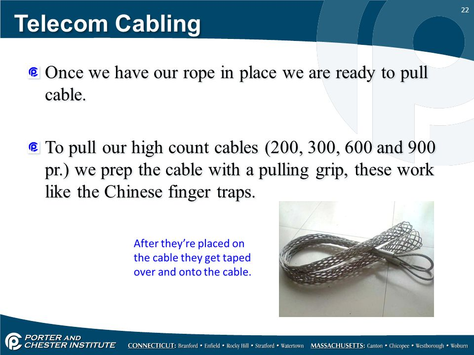Telecom Cabling Once we have our rope in place we are ready to pull cable.