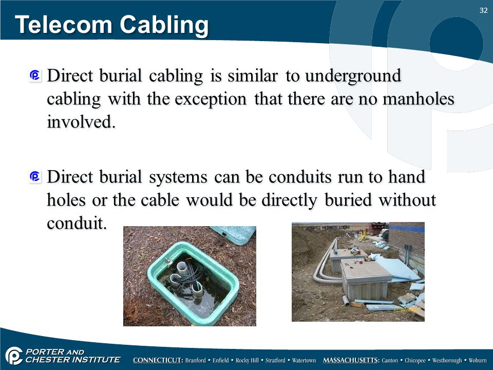Telecom Cabling Direct burial cabling is similar to underground cabling with the exception that there are no manholes involved.