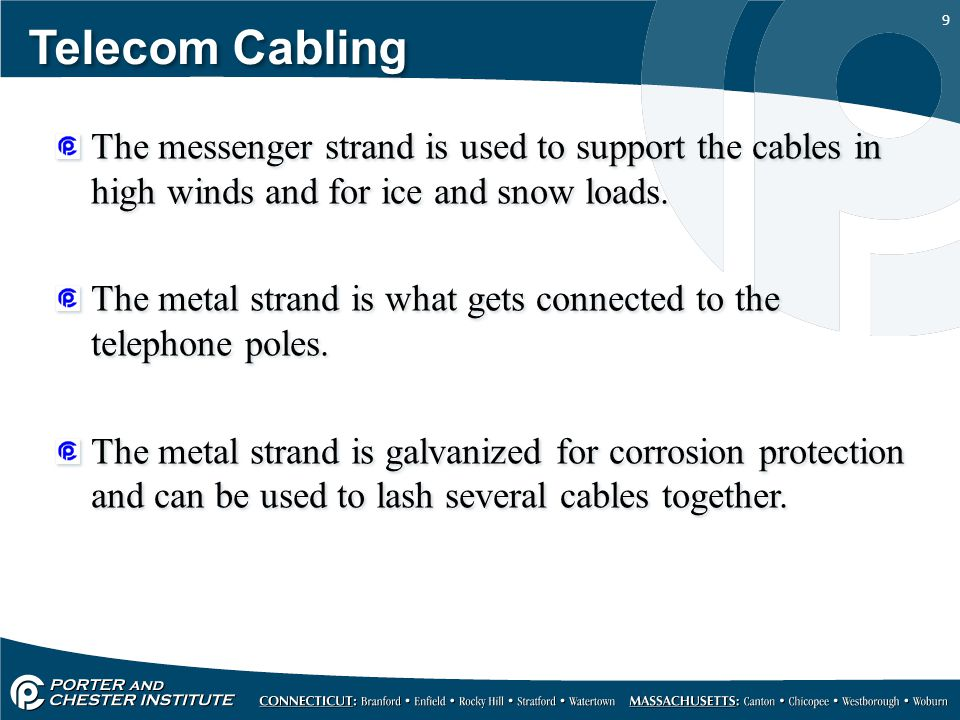 Telecom Cabling The messenger strand is used to support the cables in high winds and for ice and snow loads.