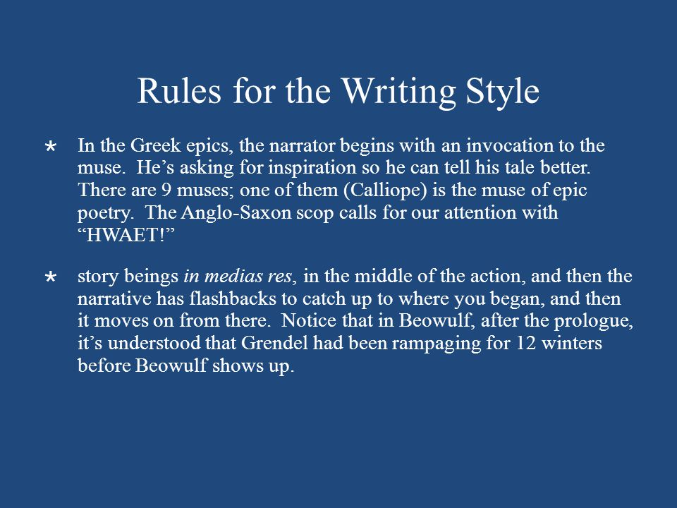Rules for the Writing Style