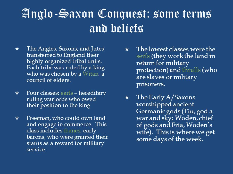 Anglo-Saxon Conquest: some terms and beliefs
