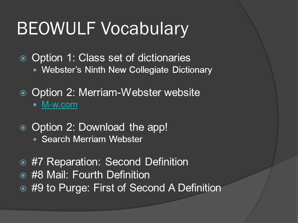 BEOWULF Vocabulary Option 1: Class set of dictionaries