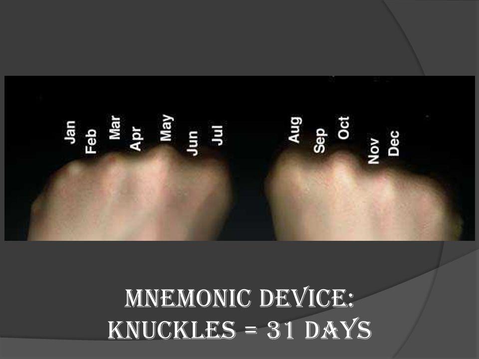Mnemonic Device: Knuckles = 31 days