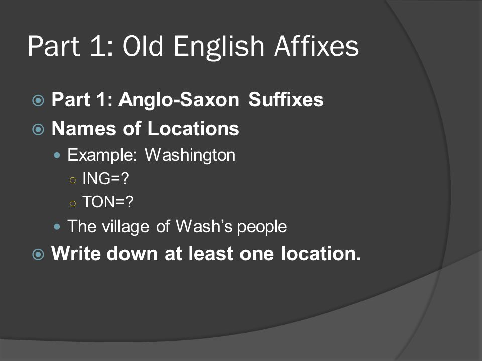 Part 1: Old English Affixes
