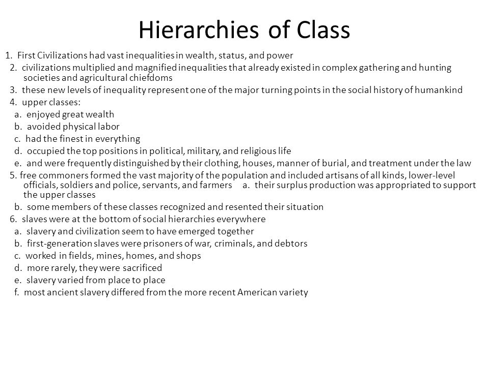 Hierarchies of Class