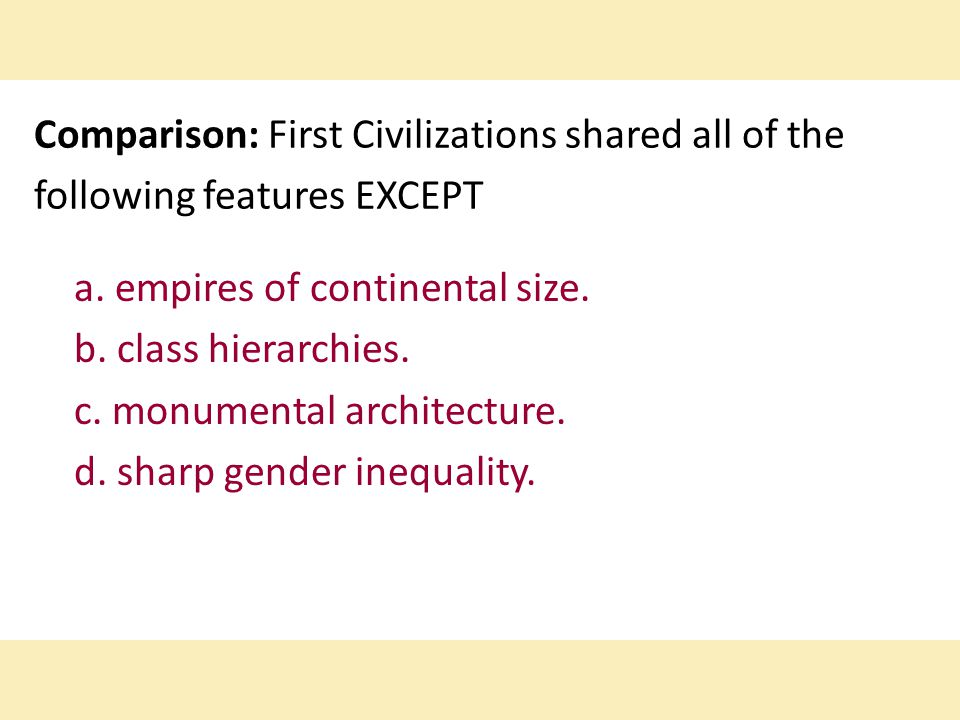 Comparison: First Civilizations shared all of the following features EXCEPT