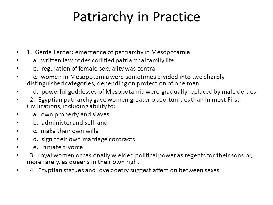 Patriarchy in Practice