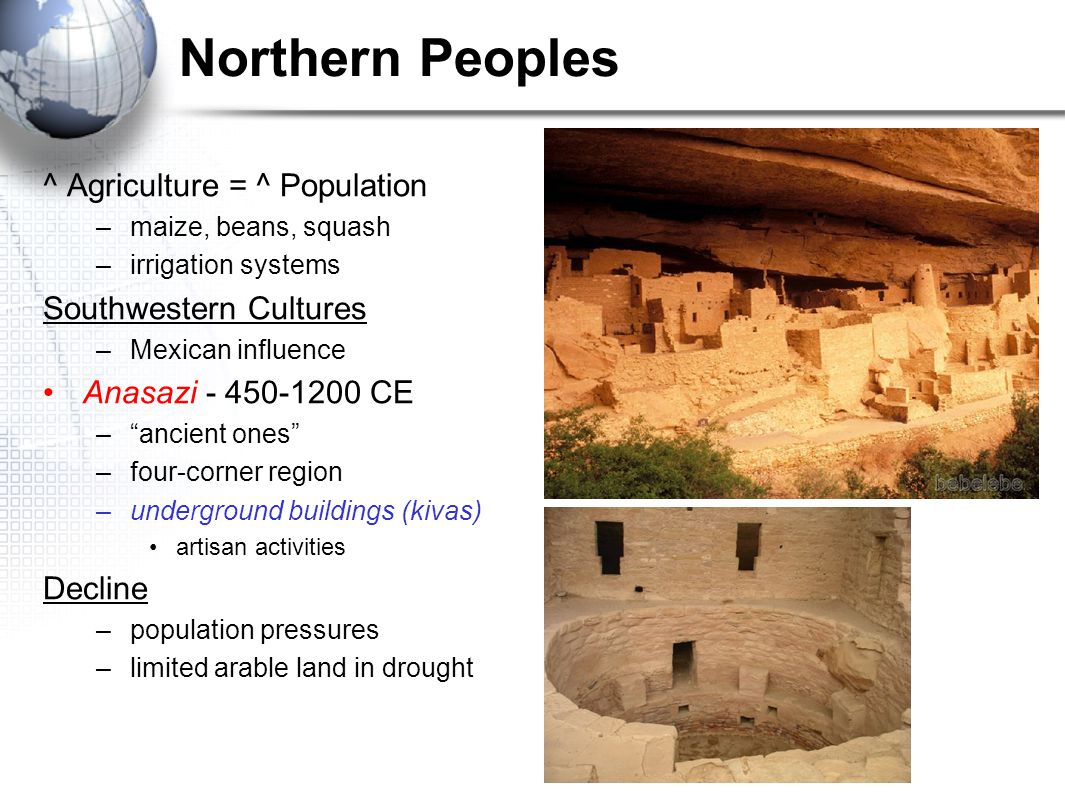 Northern Peoples ^ Agriculture = ^ Population Southwestern Cultures