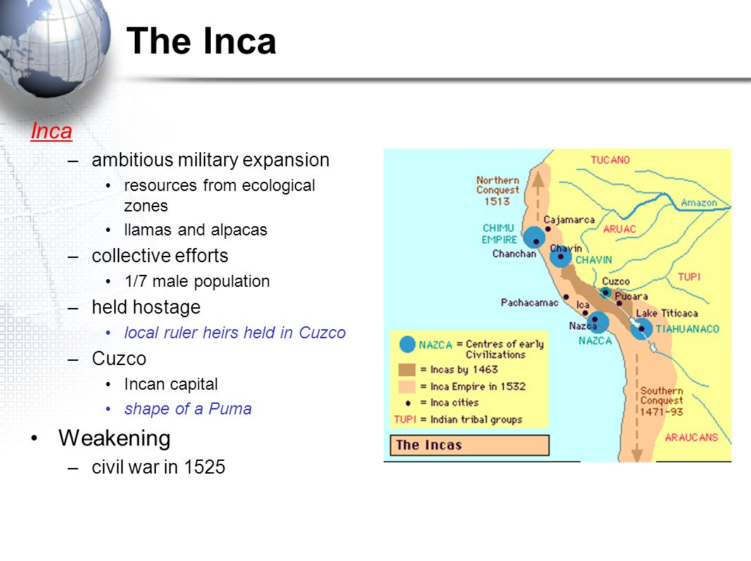 The Inca Inca Weakening ambitious military expansion