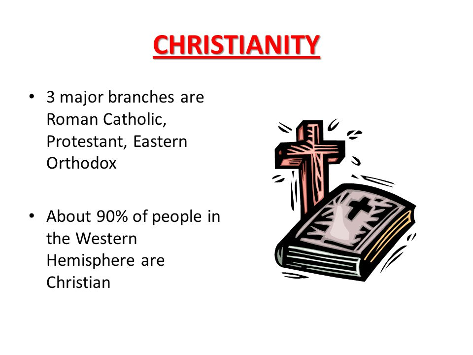 CHRISTIANITY 3 major branches are Roman Catholic, Protestant, Eastern Orthodox.