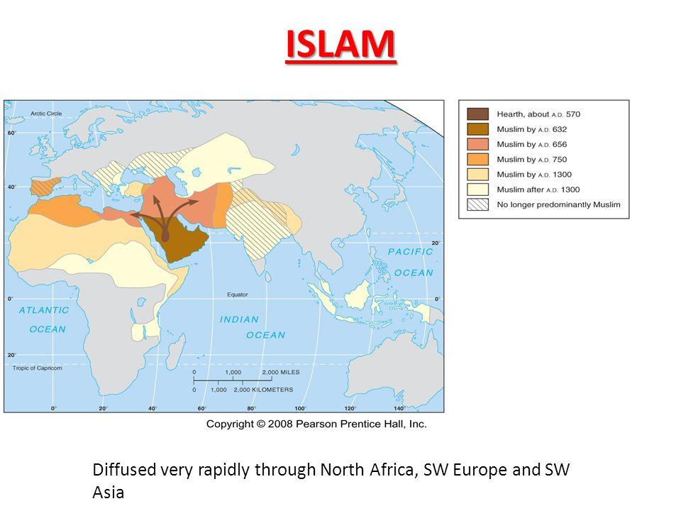 ISLAM Diffused very rapidly through North Africa, SW Europe and SW Asia