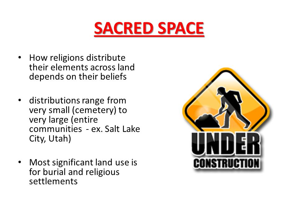 SACRED SPACE How religions distribute their elements across land depends on their beliefs.