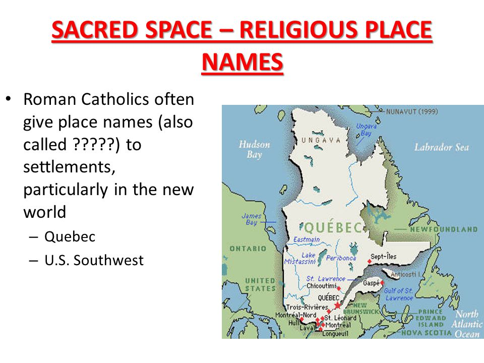 SACRED SPACE – RELIGIOUS PLACE NAMES