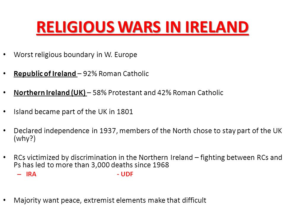 RELIGIOUS WARS IN IRELAND