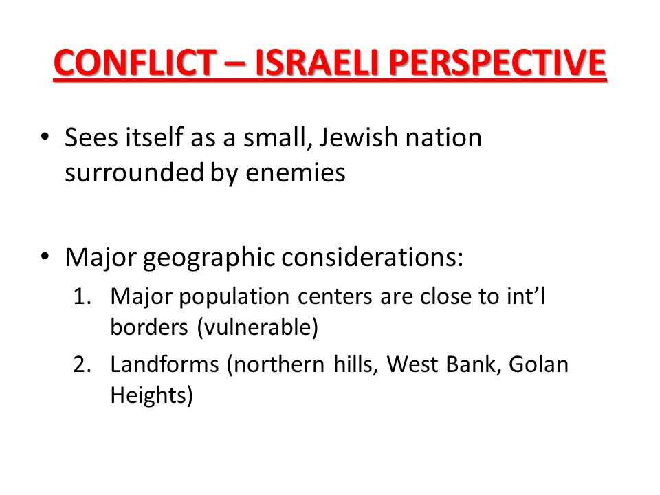 CONFLICT – ISRAELI PERSPECTIVE