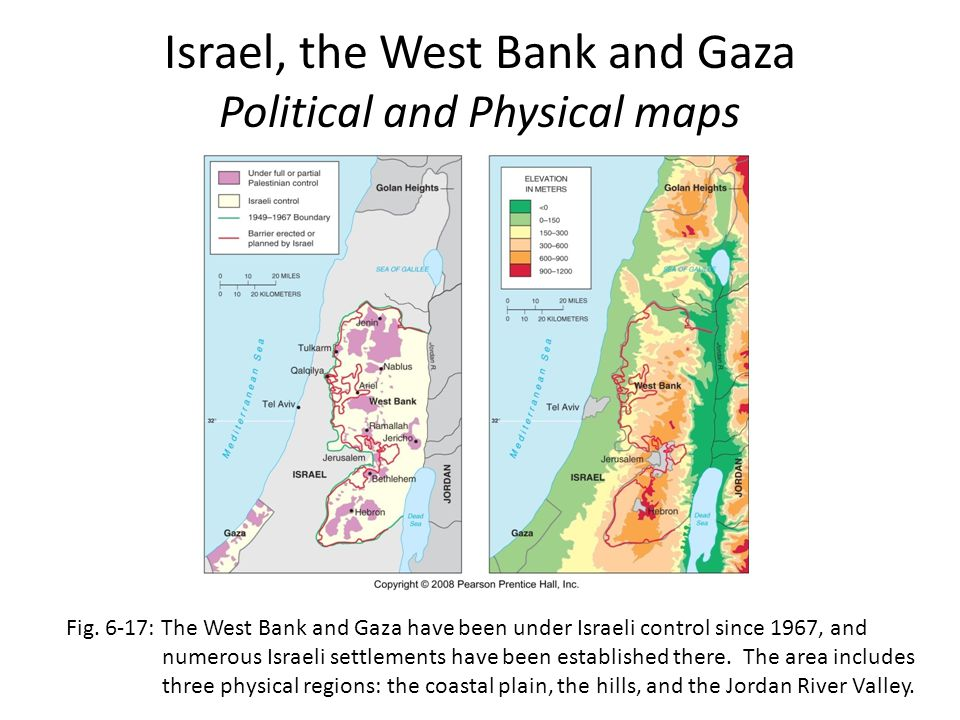 Israel, the West Bank and Gaza Political and Physical maps