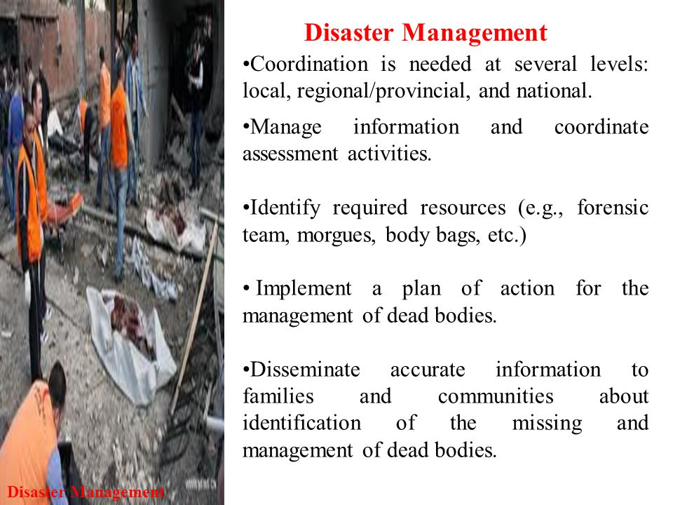 Disaster Management Coordination is needed at several levels: local, regional/provincial, and national.
