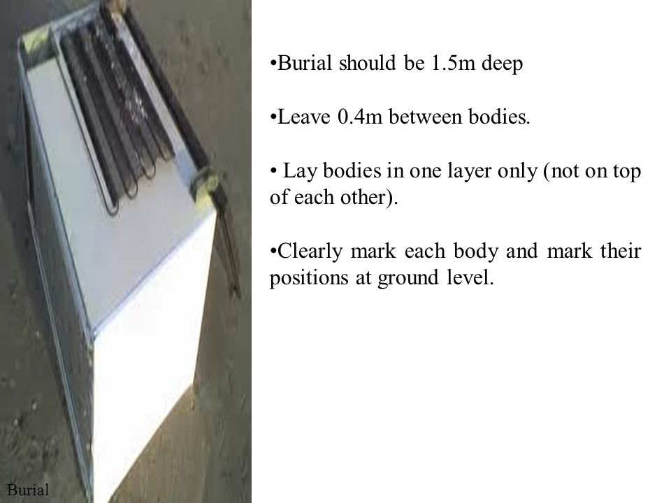 Lay bodies in one layer only (not on top of each other).