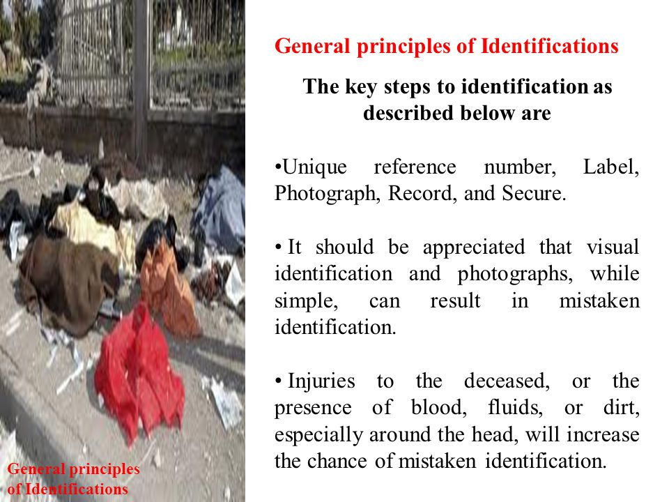 The key steps to identification as described below are