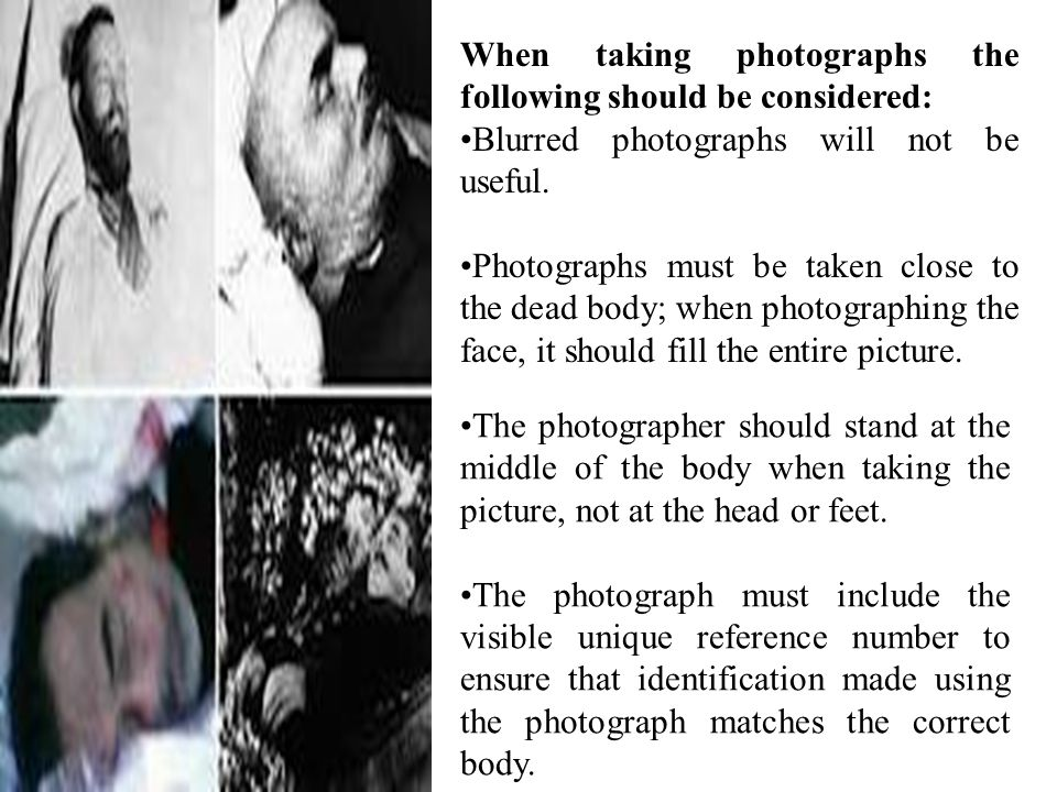 When taking photographs the following should be considered: