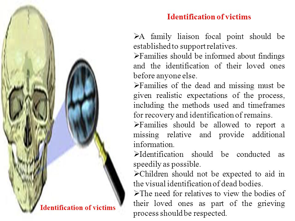 Identification of victims Identification of victims