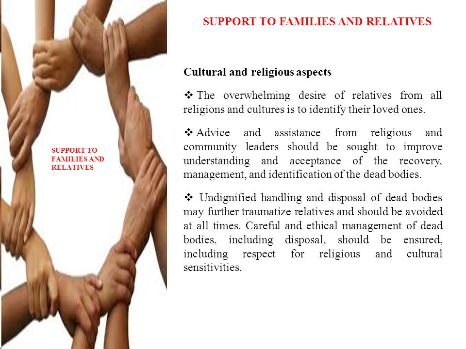 SUPPORT TO FAMILIES AND RELATIVES