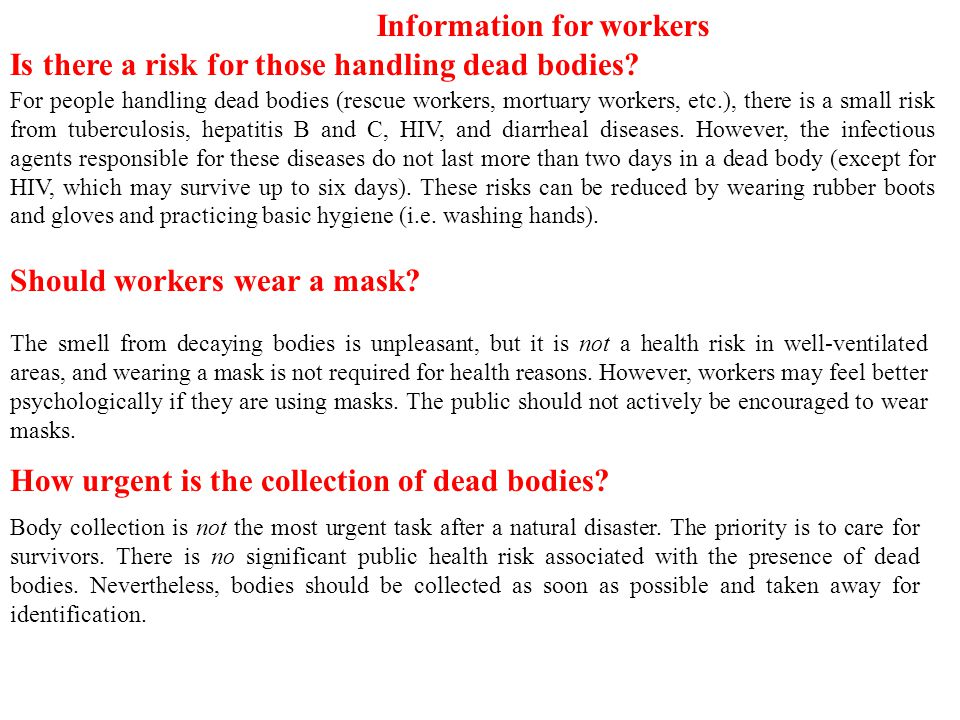Information for workers