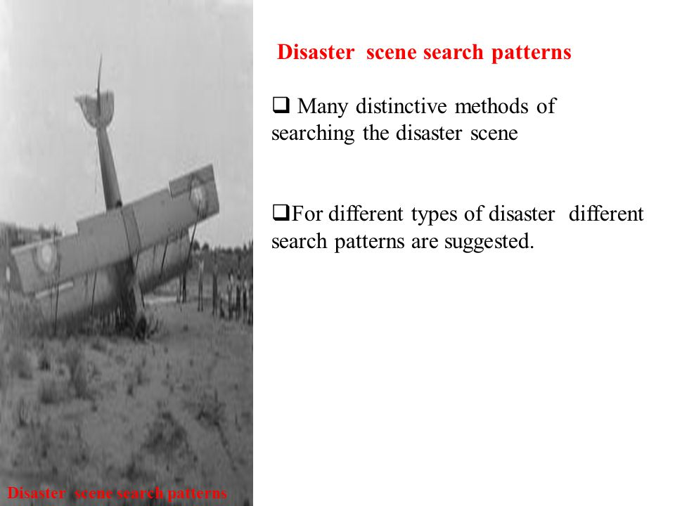Disaster scene search patterns