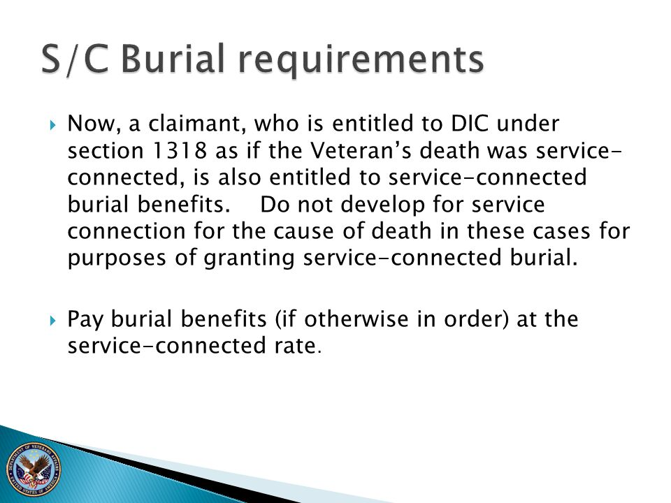 S/C Burial requirements