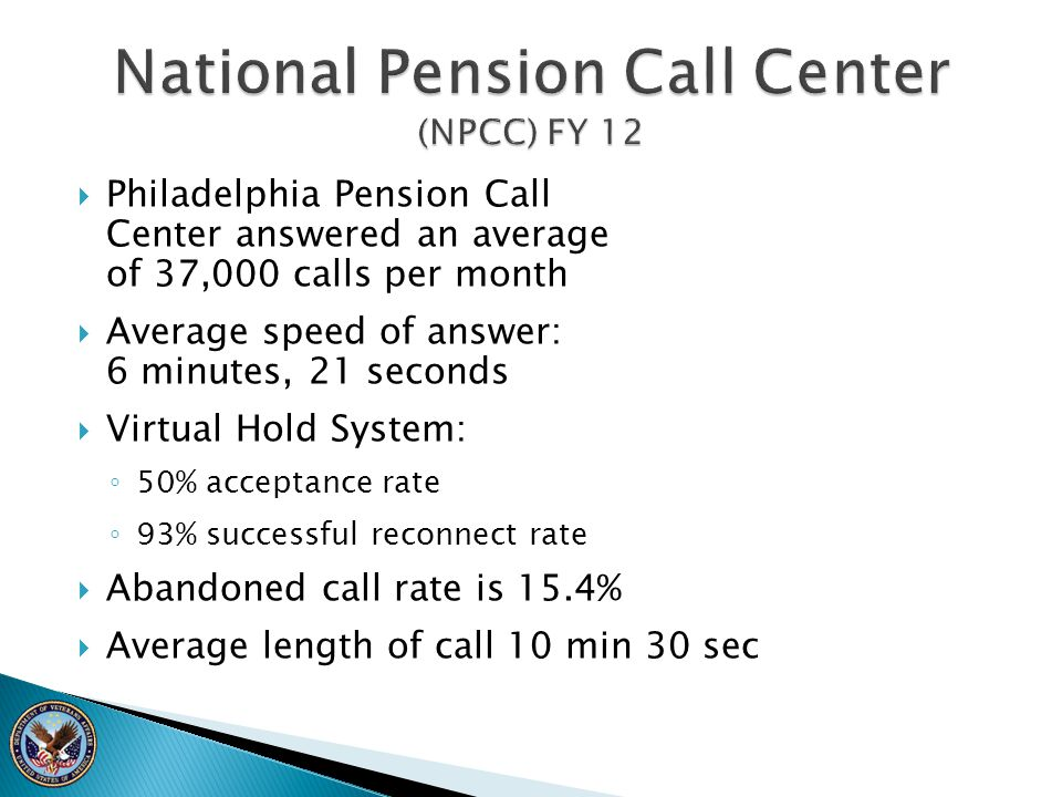 National Pension Call Center (NPCC) FY 12