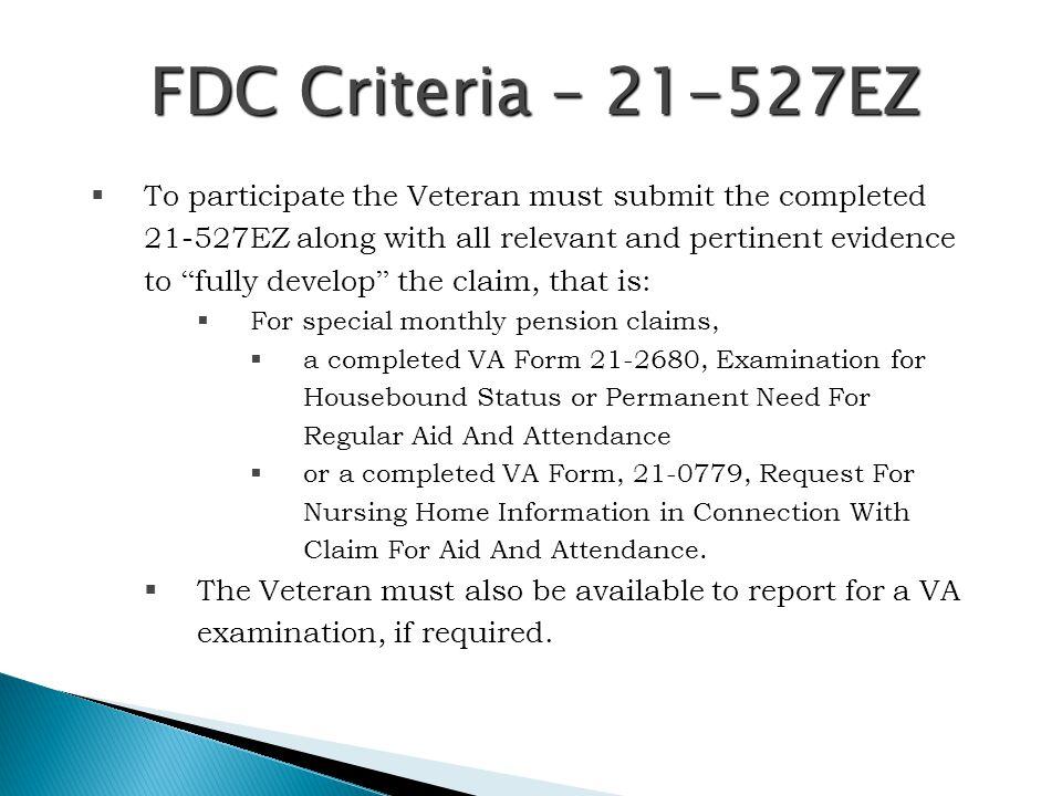 FDC Criteria – 21-527EZ