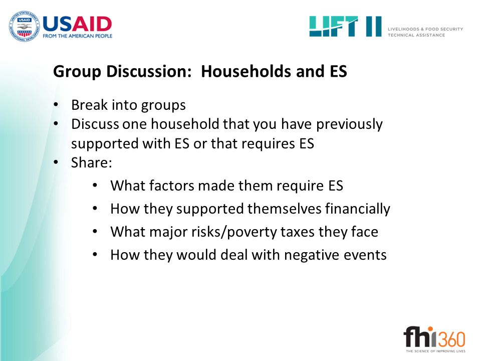 Group Discussion: Households and ES
