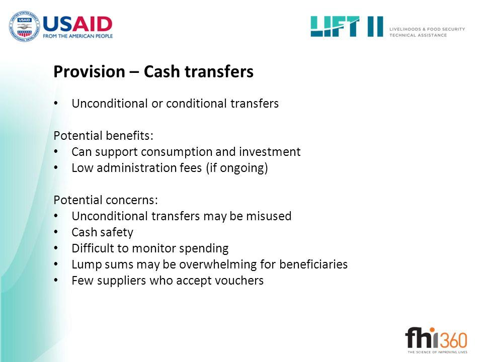 Provision – Cash transfers