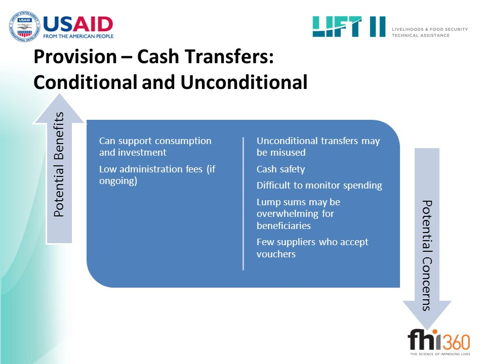 Provision – Cash Transfers: Conditional and Unconditional