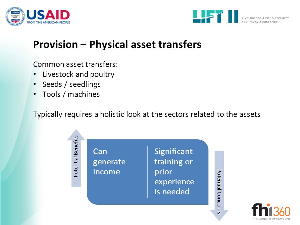 Provision – Physical asset transfers