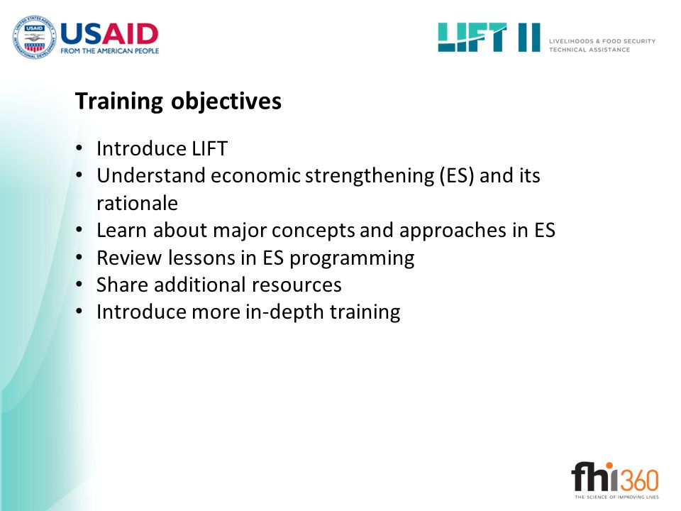 Training objectives Introduce LIFT