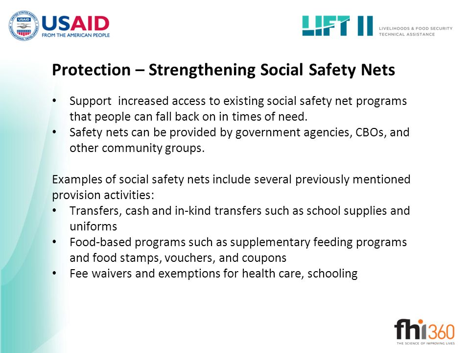 Protection – Strengthening Social Safety Nets
