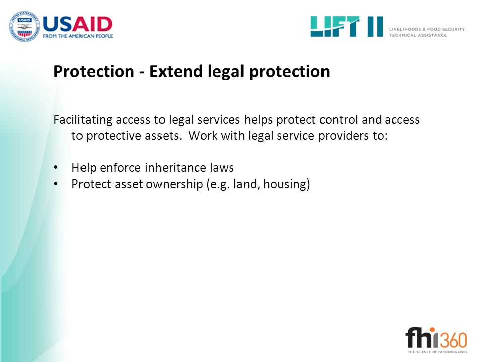 Protection - Extend legal protection
