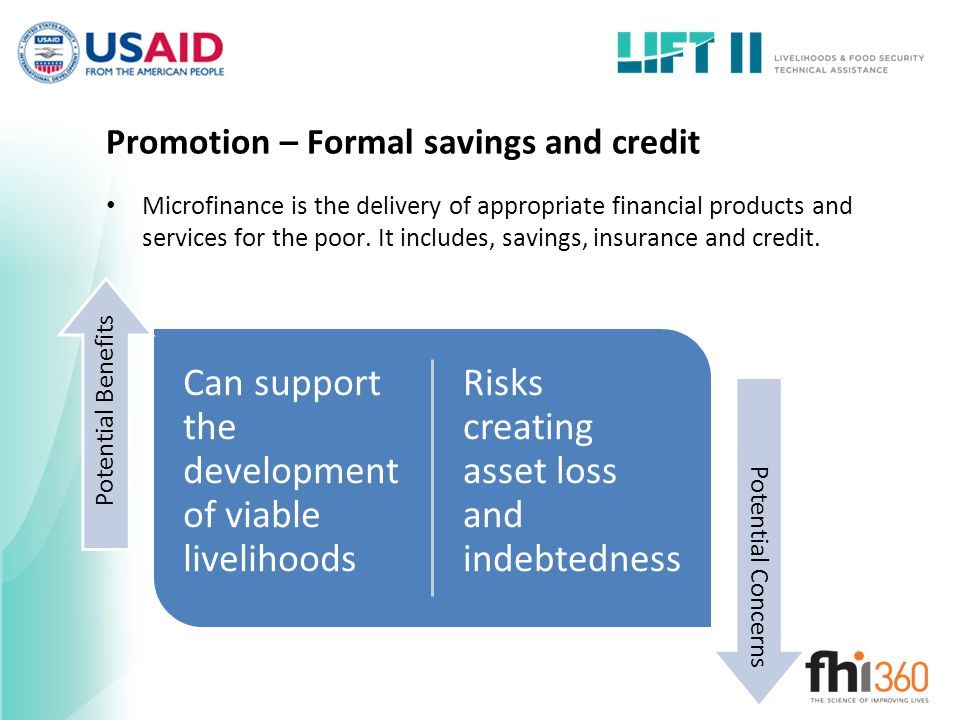 Promotion – Formal savings and credit
