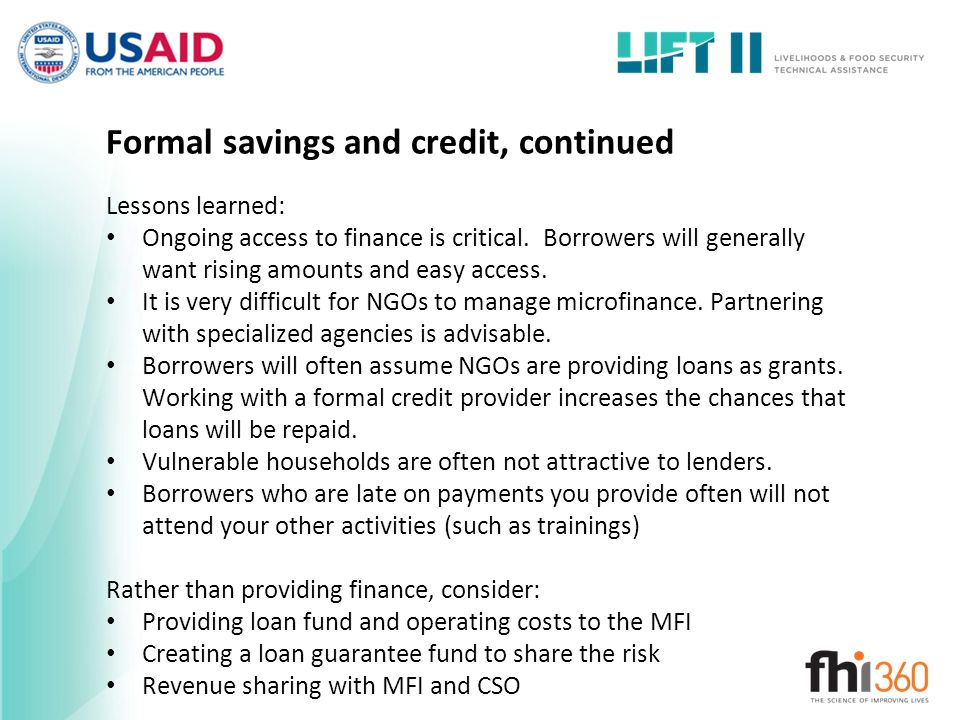 Formal savings and credit, continued