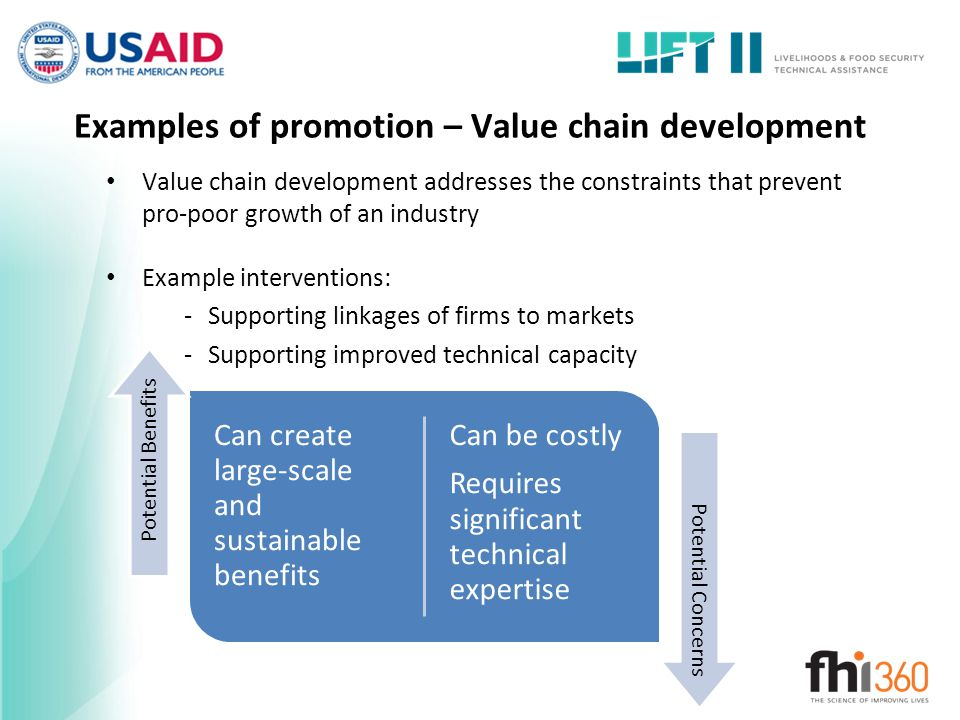 Examples of promotion – Value chain development