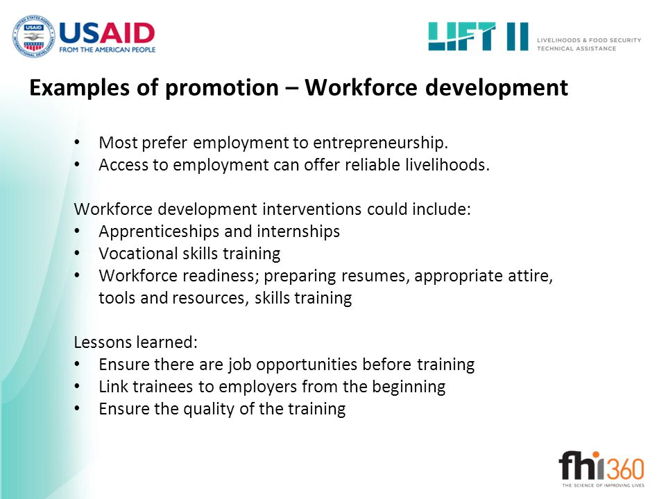 Examples of promotion – Workforce development