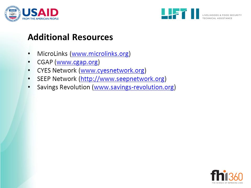 Additional Resources MicroLinks (www.microlinks.org)
